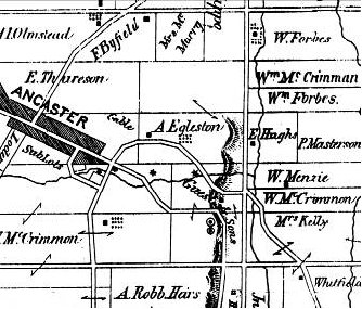 Figure 5: Part of the 1875 map of Ancaster: note that north is to the right. It was the Egleston family that built the Old Mill. Lime kilns are shown by a circle enclosing a dot.
