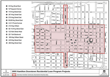 2005 Downtown Residential Loan Program Projects (click on the image to see a larger map in a new window)