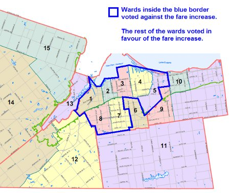Council votes on fare increase by ward: wards inside blue border voted against the fare increase.