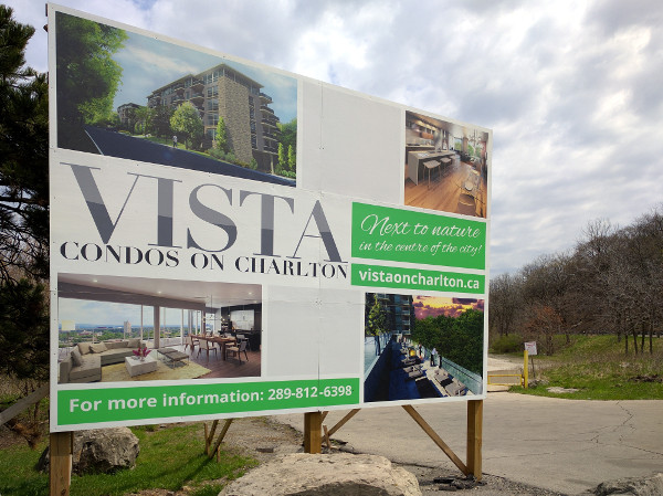 Sign for The Vista condominiums at 467 Charlton Avenue East (RTH file photo)