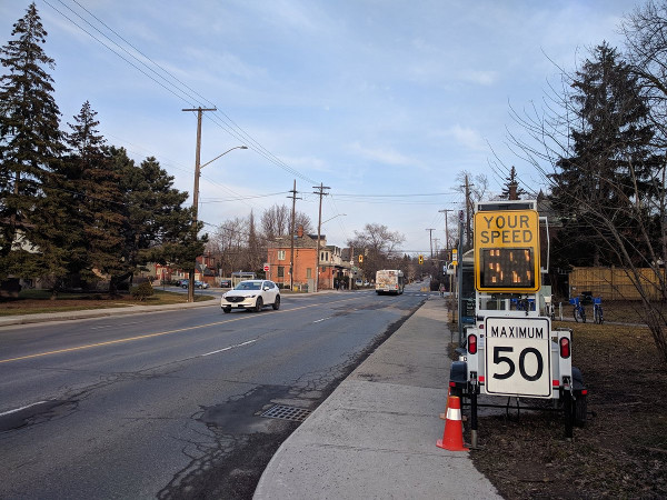 Mobile speed radar on Aberdeen west of Queen