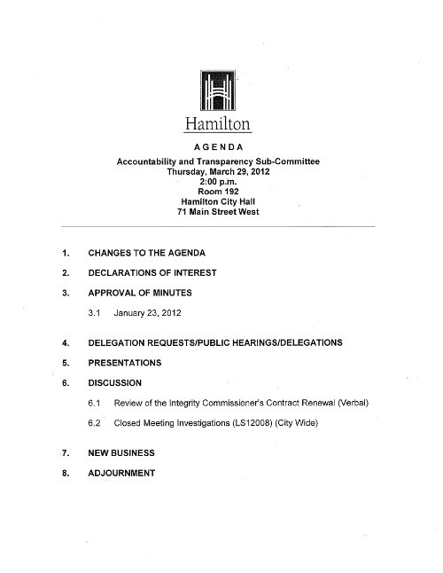 Agenda for the March 29, 2012 meeting of the Accountability and Transparency Committee