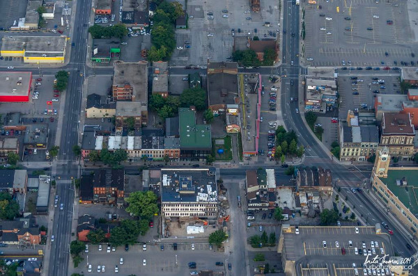 Aerial view of surface parking in downtown Hamilton (Image Credit: Anita Thomas)