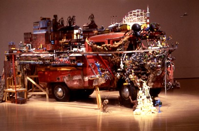 Kim Adams (Canadian b. 1951): Bruegel-Bosch Bus 1996-ongoing - 1960s Volkswagen bus, figurines, mixed media 243.8 x 168.9 x 414 cm