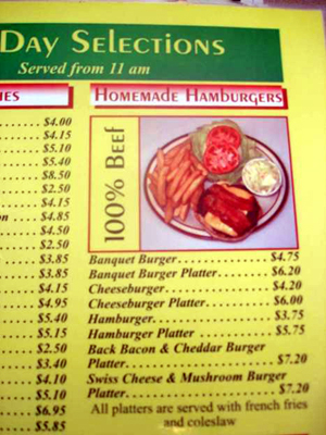 100% Beef Homemade Hamburger depicted on menu