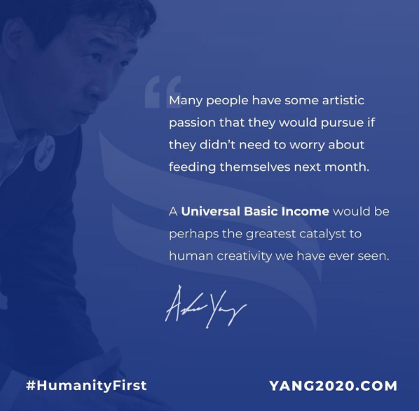 Andrew Yang, democratic presidential candidate and outspoken UBI advocate, campaigning on the prospect of providing everyone in America with the a UBI (Freedom Dividend)