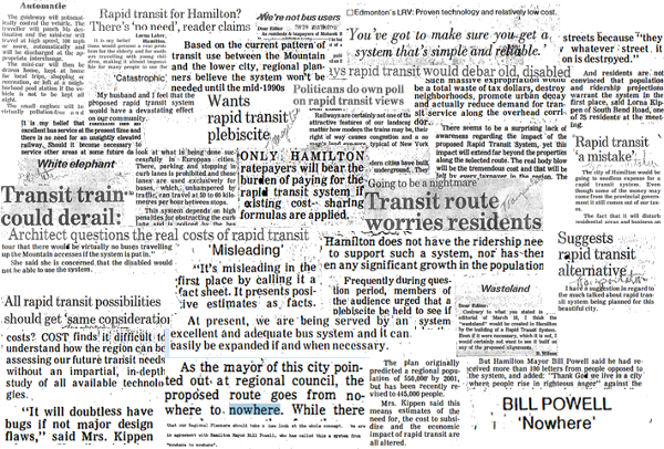 News clippings from previous rapid transit debate