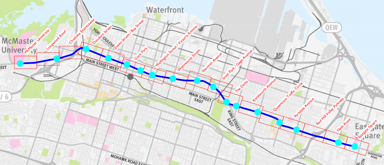 B-Line LRT route map