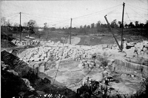 Figure 2: The Bedford quarry in Indiana Limestone (Plate XXVIII in Merrill, Stones for Building and Decoration, 1903).