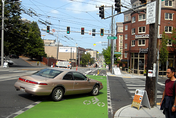 No right on red across bike lane (Image Credit: Streetsblog)