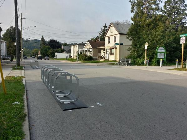Bike share station on Emerson at the Rail Trail
