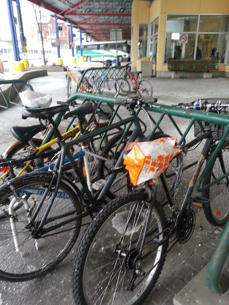 The bike rack at the Hunter GO Station was about half-full