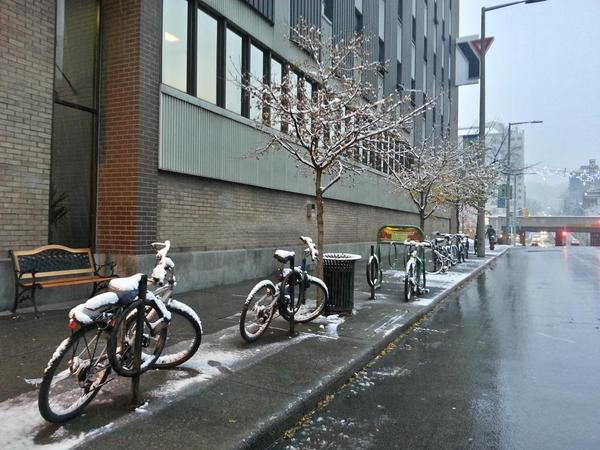 Bikes parked on James Street South and Jackson, November 17, 2014