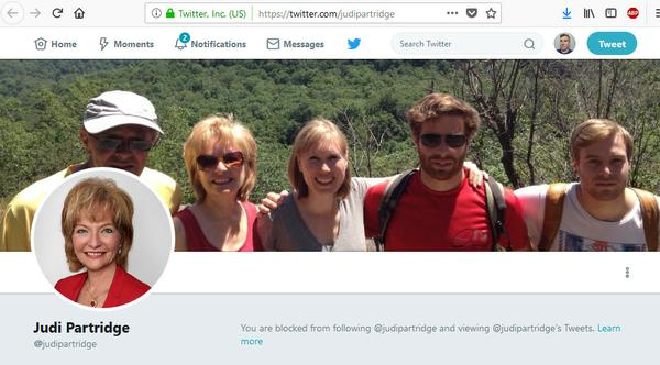 Screenshot from Twitter: Account blocked by Judi Partridge