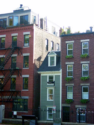 Narrowest house in Boston: 44 Hull St., opposite the Copp's Hill Cemetery in the North End, is just over ten feet wide