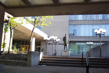 Hamilton Central Library has an obscured main entrance