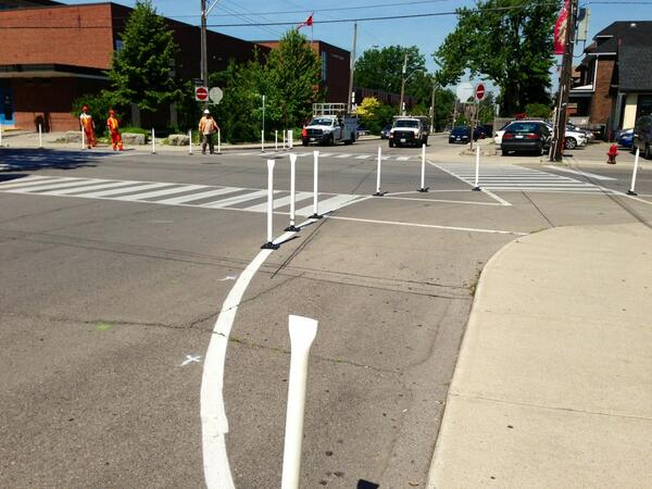 Bumpouts, knockdown sticks and Zebra crossings at Herkimer and Locke (RTH file photo)
