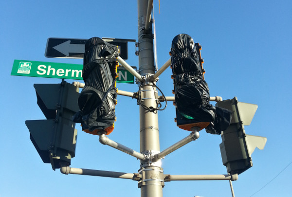 New west-facing traffic signals on Cannon at Sherman