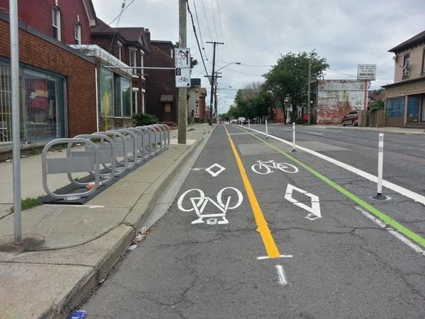 Cannon Cycle Track and Bike Share station at Tisdale (RTH file photo)