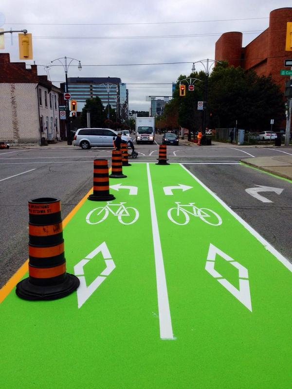 Bike box on Bay Street to connect with Cannon Cycle Track (Image Credit: Jason Leach)