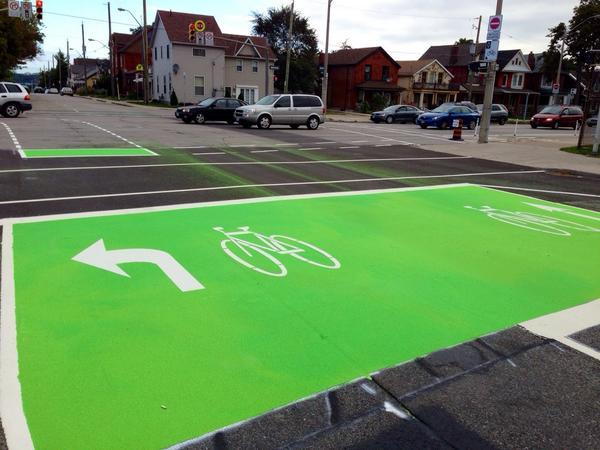 Bike box on Hess Street to connect with Cannon Cycle Track (Image Credit: Jason Leach)