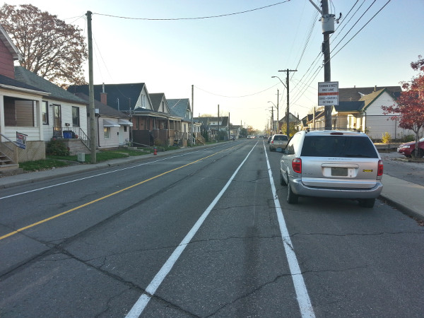 Door zone danger on westbound Cannon bike lane east of Ottawa