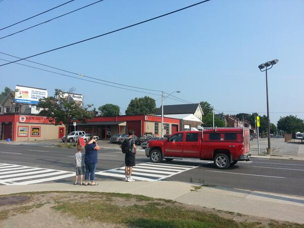 Vehicles not stopping for pedestrians on zebra crossing at Cannon and Elgin