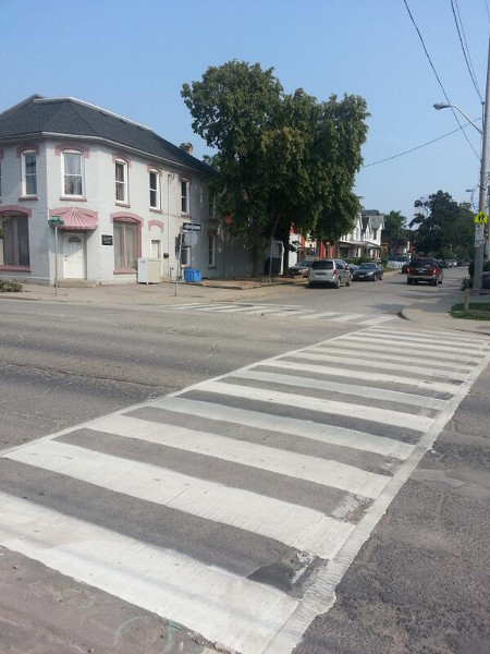 Zebra crossing at Cannon and Smith