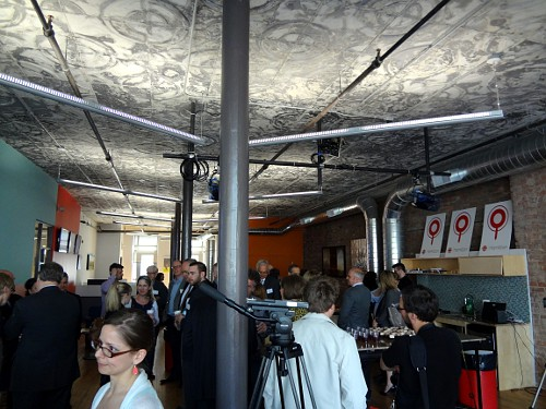 The inside of the CBC Hamilton office, with prominent stamped tin ceiling.
