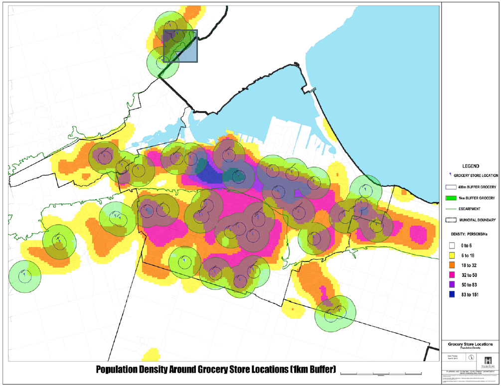 Population Density Around Grocery Store Locations (1 km Buffer) (Source: City of Hamilton)