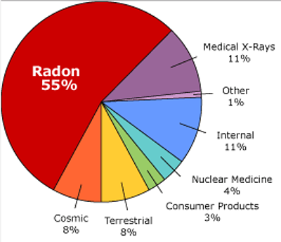 Chart: sources of radiation (Image Credit: Take Action on Radon)