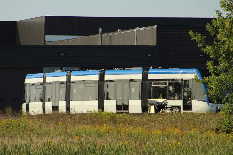 Waterloo Region ION LRT vehicle at Bombardier Millhaven plant (Image Credit: Jon Bullock)