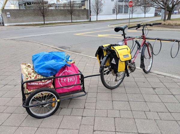 Bike with trailer and panniers at Main West Fortinos