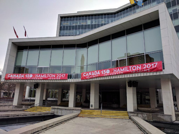 Canada 150 banner hanging at Hamilton City Hall