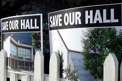 'Save Our Hall' posters: cheaper than a chunk of marble