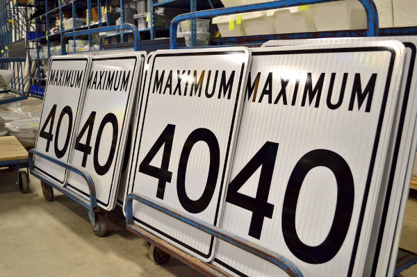 40 km/h speed limit signs ready to be deployed (Image Credit: City of Hamilton)