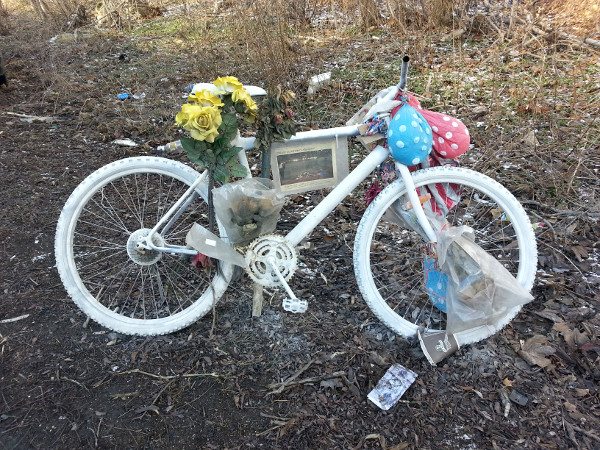 Ghost bike for Jay Keddy, killed on the Claremont Access on December 3, 2015