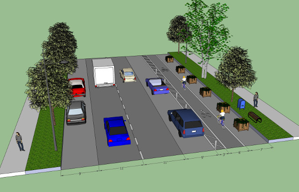Rendering of a street redesigned to include protected bike lanes (Image Credit: Streets.MN)