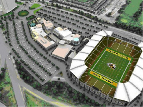 Mockup of the Ticats' planned 'Stadium Precinct' at the CP Rail Yard