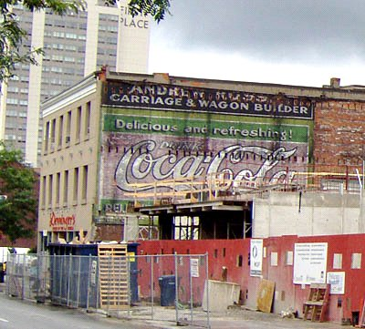 The old Coca-Cola ad exposed when the Spallacci building was demolished