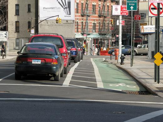 Buffered, green-painted bike lane in New York City (Image Credit: CycleTO)