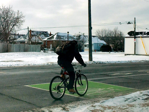 Visibility of bike lanes is more important than ever on snowy days