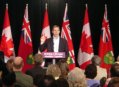 Ontario Premier Dalton McGuinty announces funding to restore the Lister Block