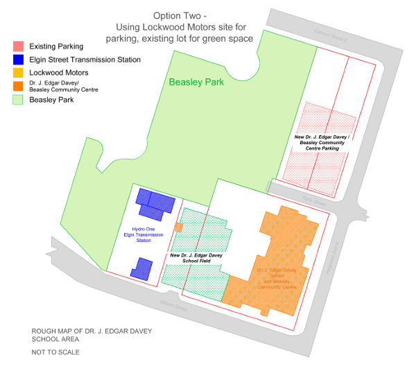 Option 2: Use the Lockwood Motors area for parking, convert the existing school parking lot into green space