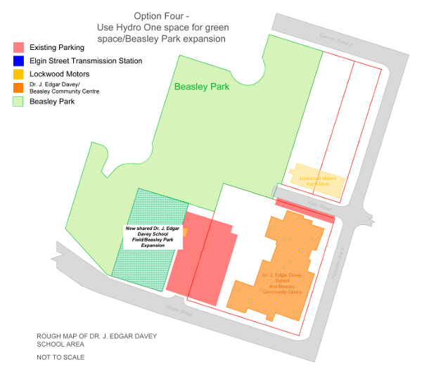 Option 4: Work with Andrea Horwath and Hydro One to move the existing transmission station beside the existing parking lot and convert it into green space