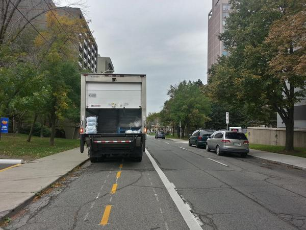 Delivery truck blocking Hunter Street bike lanes