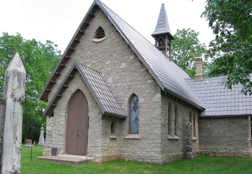 Figure 4: St Alban's Church, Rockton, built from Guelph dolomite. This geological formation outcrops throughout Beverly township and West Flamborough and was used extensively for building.
