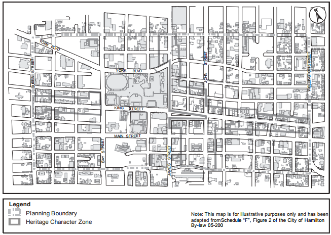 Map: Downtown Heritage Character Zone (Image Credit: City of Hamilton)