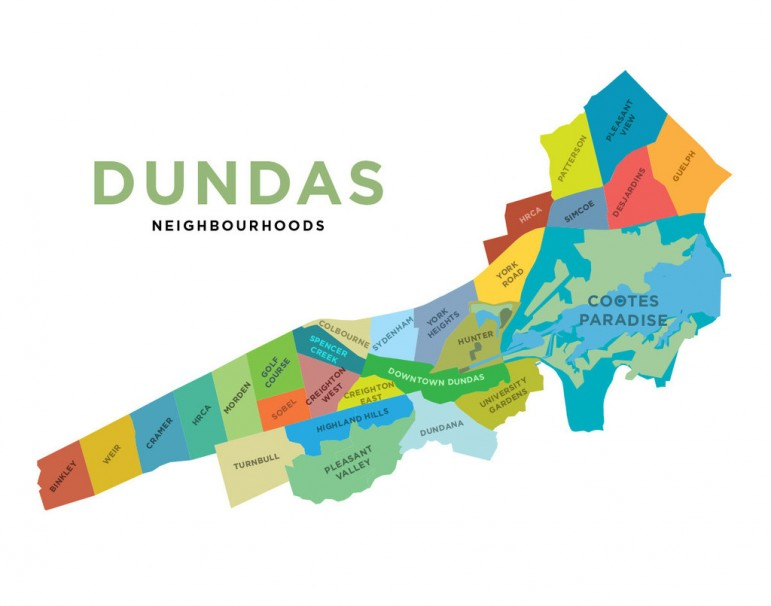 Jelly Brothers Map of Dundas Neighbourhoods