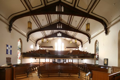 Fig. 7. Dundas, Knox Presbyterian Church, interior to S from pulpit platform.